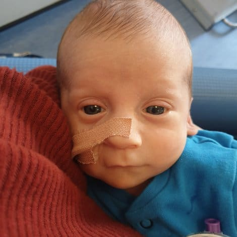 young baby in hospital