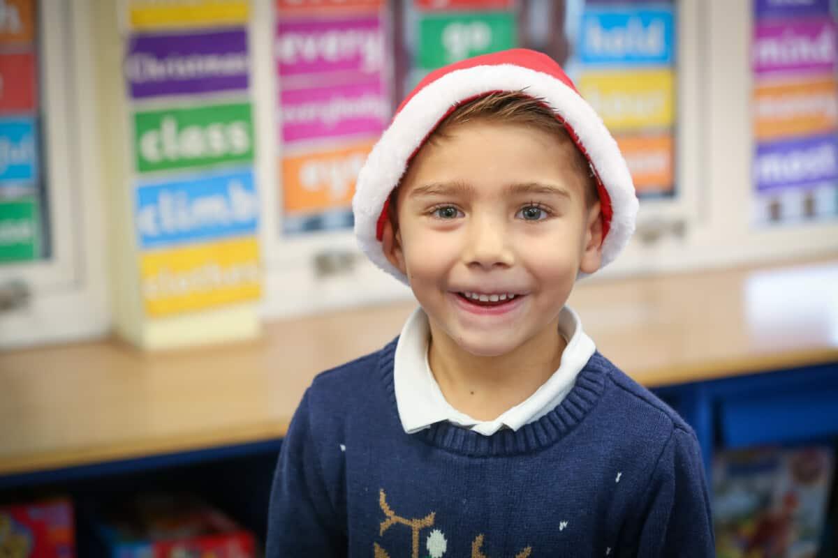 Child in Santa hat